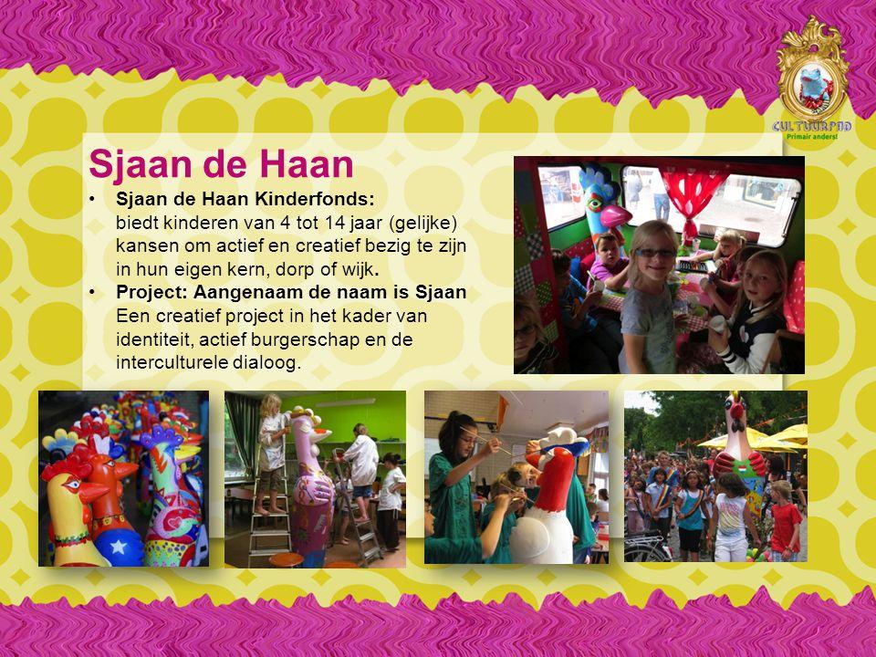 Sjaan de Haan Sjaan de Haan Kinderfonds: biedt kinderen van 4 tot 14 jaar (gelijke) kansen om actief en creatief bezig te zijn in hun eigen kern, dorp of wijk.