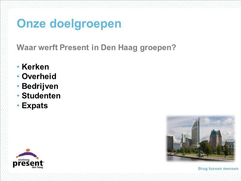 Onze doelgroepen Waar werft Present in Den Haag groepen? Kerken Overheid Bedrijven Studenten Expats