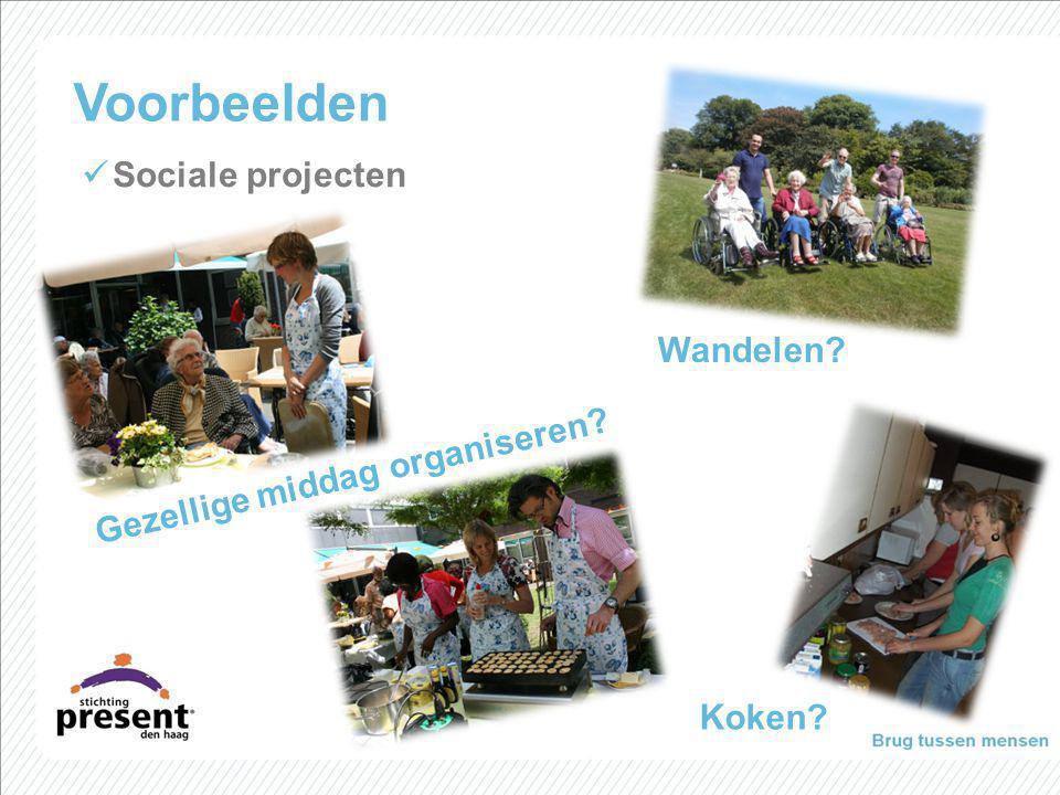 Wandelen? Koken? Voorbeelden Sociale projecten Gezellige middag organiseren?