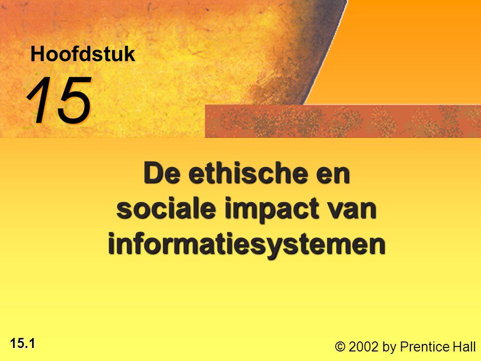15.1 © 2002 by Prentice Hall Hoofdstuk 15 De ethische en sociale impact van informatiesystemen