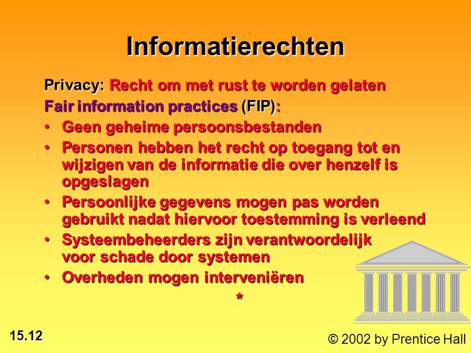 15.12 © 2002 by Prentice Hall Informatierechten Privacy: Recht om met rust te worden gelaten Fair information practices (FIP): Geen geheime persoonsbe