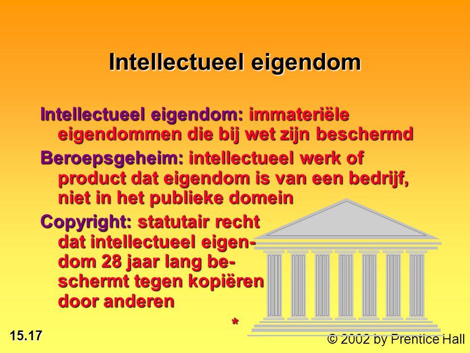 15.17 © 2002 by Prentice Hall Intellectueel eigendom Intellectueel eigendom: immateriële eigendommen die bij wet zijn beschermd Beroepsgeheim: intelle