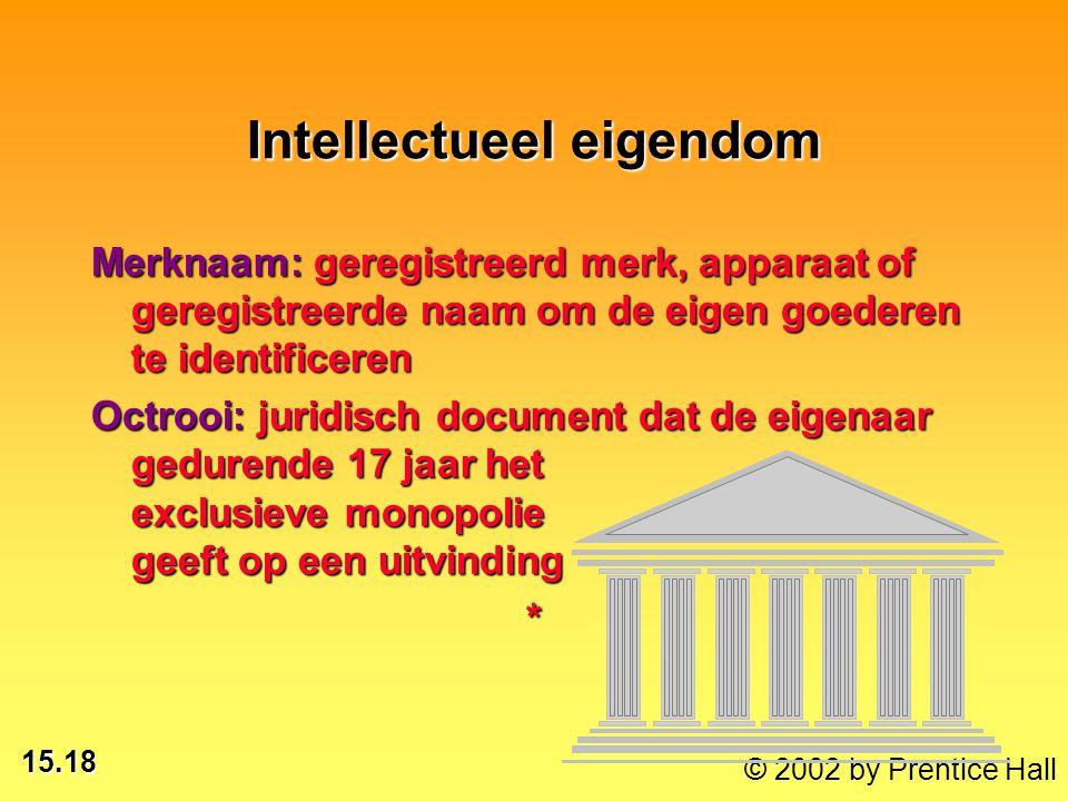 15.18 © 2002 by Prentice Hall Intellectueel eigendom Merknaam: geregistreerd merk, apparaat of geregistreerde naam om de eigen goederen te identificer