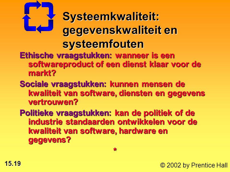 15.19 © 2002 by Prentice Hall Ethische vraagstukken: wanneer is een softwareproduct of een dienst klaar voor de markt? Sociale vraagstukken: kunnen me