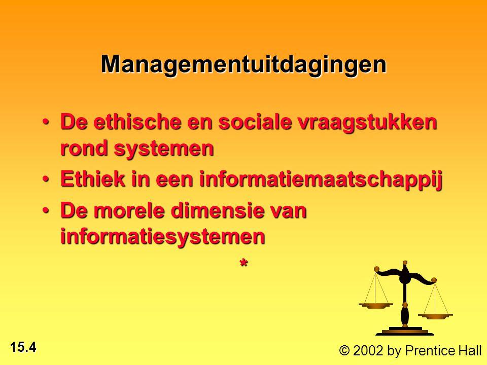 15.4 © 2002 by Prentice Hall Managementuitdagingen De ethische en sociale vraagstukken rond systemenDe ethische en sociale vraagstukken rond systemen