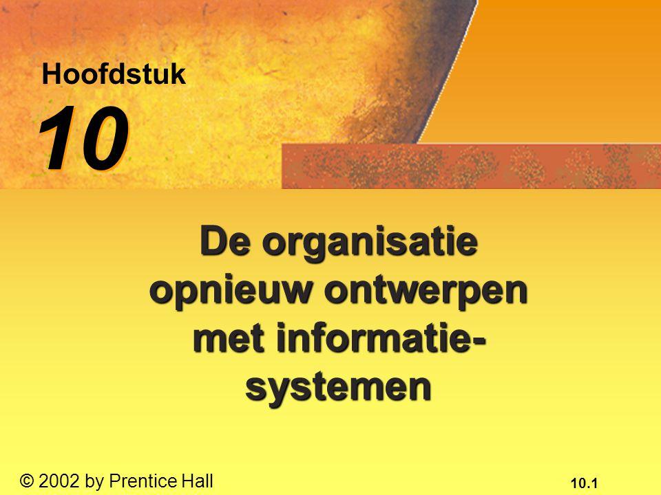 10.2 © 2002 by Prentice Hall te demonstreren hoe het bouwen van nieuwe systemen organisatorische veranderingen teweeg kan brengen;te demonstreren hoe het bouwen van nieuwe systemen organisatorische veranderingen teweeg kan brengen; uit te leggen hoe de organisatie informatiesystemen kan ontwikkelen die passen binnen het ondernemingsplan;uit te leggen hoe de organisatie informatiesystemen kan ontwikkelen die passen binnen het ondernemingsplan; de kernactiviteiten tijdens het systeemontwikkelingsproces te benoemen;de kernactiviteiten tijdens het systeemontwikkelingsproces te benoemen;* Na dit hoofdstuk ben je in staat om: