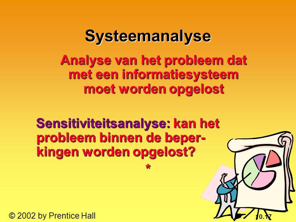 10.17 © 2002 by Prentice Hall Analyse van het probleem dat met een informatiesysteem moet worden opgelost Analyse van het probleem dat met een informa