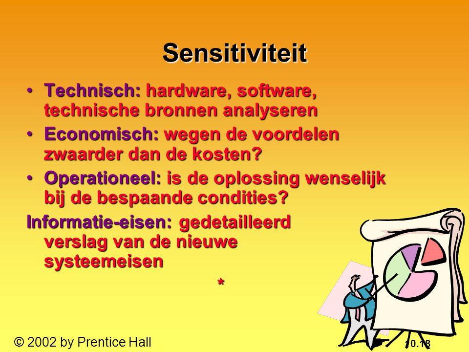10.18 © 2002 by Prentice Hall Sensitiviteit Technisch: hardware, software, technische bronnen analyserenTechnisch: hardware, software, technische bron