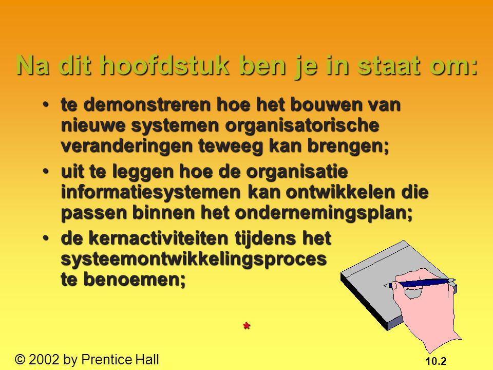 10.2 © 2002 by Prentice Hall te demonstreren hoe het bouwen van nieuwe systemen organisatorische veranderingen teweeg kan brengen;te demonstreren hoe
