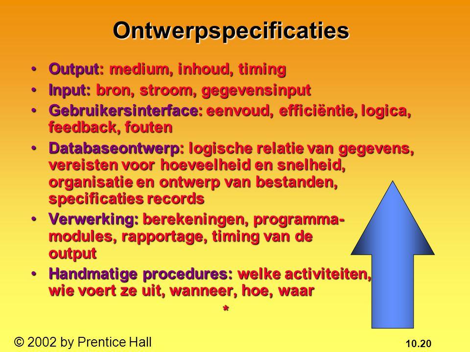 10.20 © 2002 by Prentice HallOntwerpspecificaties Output: medium, inhoud, timingOutput: medium, inhoud, timing Input: bron, stroom, gegevensinputInput