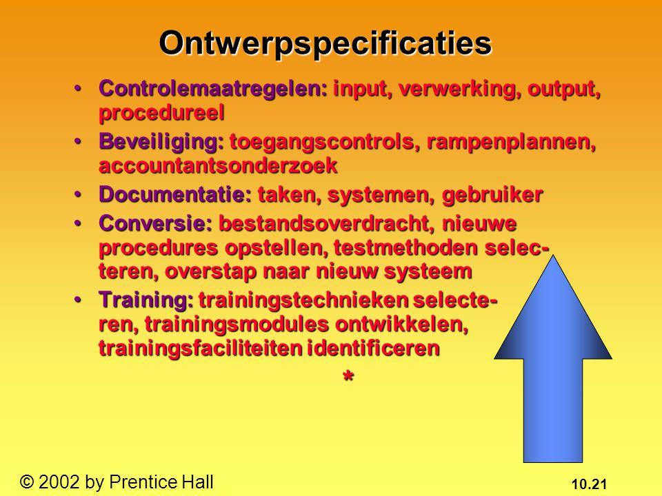 10.21 © 2002 by Prentice Hall Controlemaatregelen: input, verwerking, output, procedureelControlemaatregelen: input, verwerking, output, procedureel B