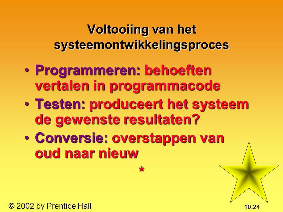 10.24 © 2002 by Prentice Hall Voltooiing van het systeemontwikkelingsproces Programmeren: behoeften vertalen in programmacodeProgrammeren: behoeften v