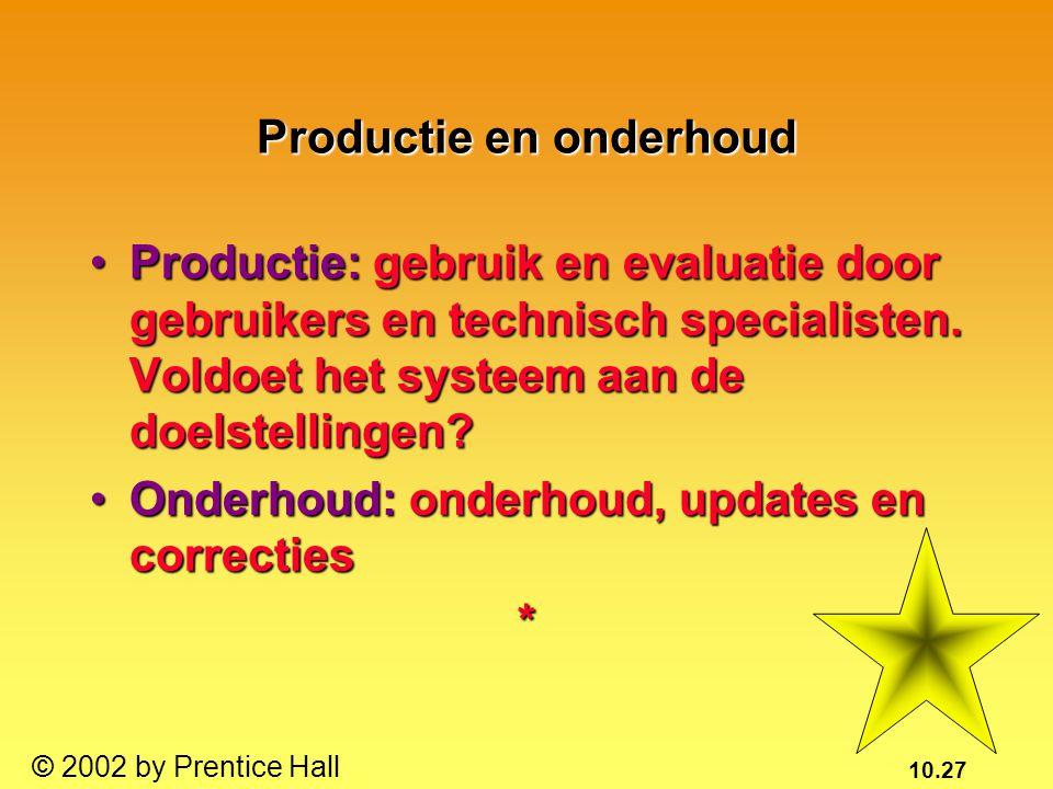 10.27 © 2002 by Prentice Hall Productie en onderhoud Productie: gebruik en evaluatie door gebruikers en technisch specialisten. Voldoet het systeem aa