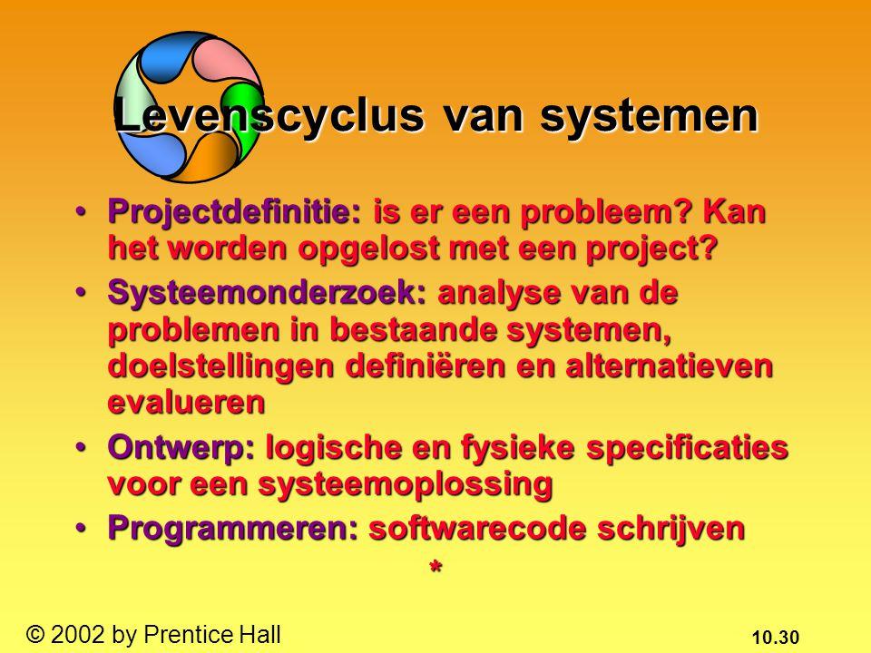 10.30 © 2002 by Prentice Hall Levenscyclus van systemen Projectdefinitie: is er een probleem? Kan het worden opgelost met een project?Projectdefinitie