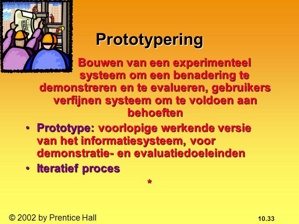 10.33 © 2002 by Prentice Hall Prototypering Bouwen van een experimenteel systeem om een benadering te demonstreren en te evalueren, gebruikers verfijnen systeem om te voldoen aan behoeften Bouwen van een experimenteel systeem om een benadering te demonstreren en te evalueren, gebruikers verfijnen systeem om te voldoen aan behoeften Prototype: voorlopige werkende versie van het informatiesysteem, voor demonstratie- en evaluatiedoeleindenPrototype: voorlopige werkende versie van het informatiesysteem, voor demonstratie- en evaluatiedoeleinden Iteratief procesIteratief proces*