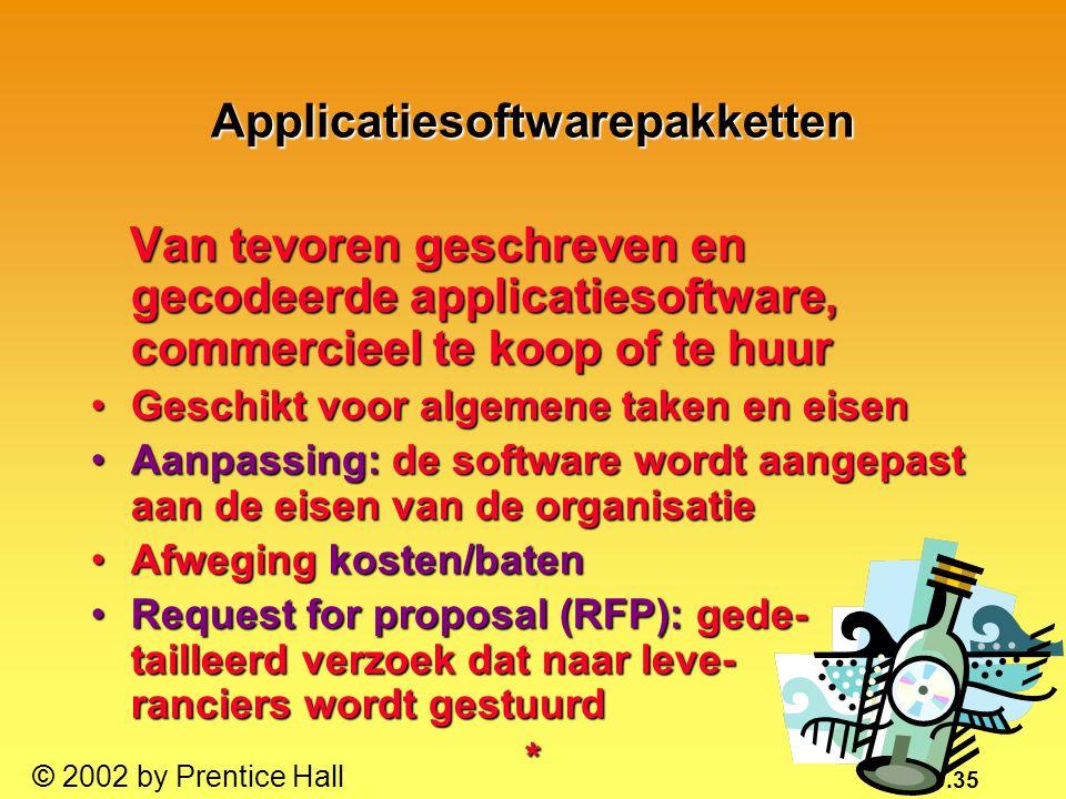 10.35 © 2002 by Prentice Hall Applicatiesoftwarepakketten Van tevoren geschreven en gecodeerde applicatiesoftware, commercieel te koop of te huur Van