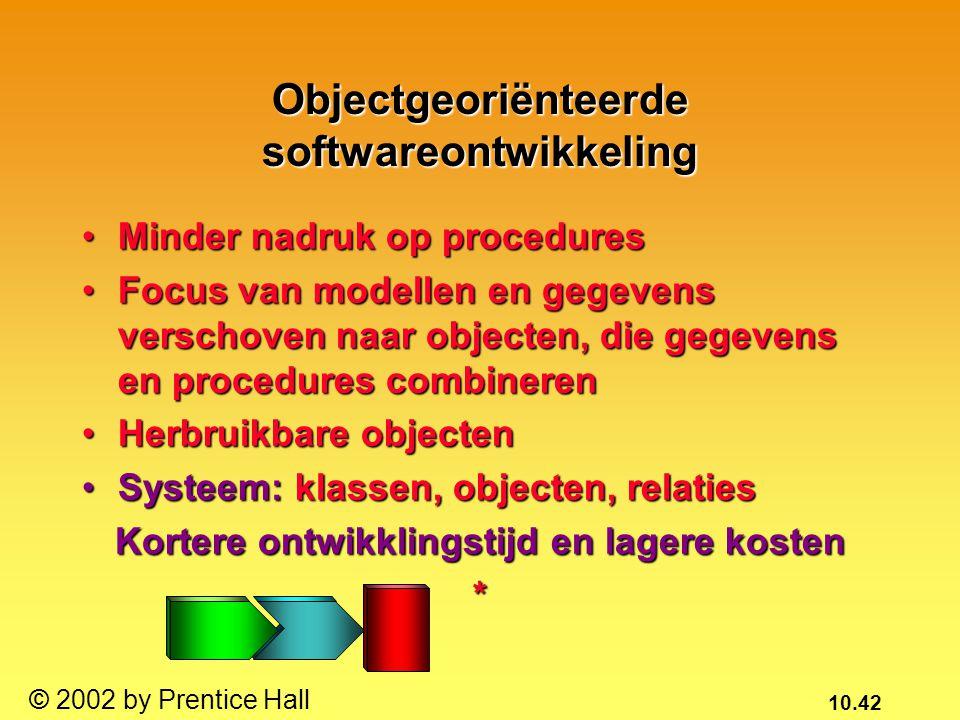 10.42 © 2002 by Prentice Hall Objectgeoriënteerde softwareontwikkeling Minder nadruk op proceduresMinder nadruk op procedures Focus van modellen en ge