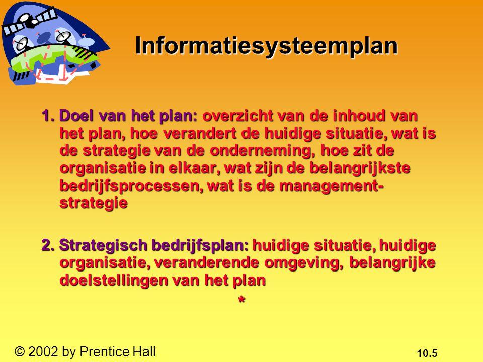 10.5 © 2002 by Prentice Hall Informatiesysteemplan 1. Doel van het plan: overzicht van de inhoud van het plan, hoe verandert de huidige situatie, wat