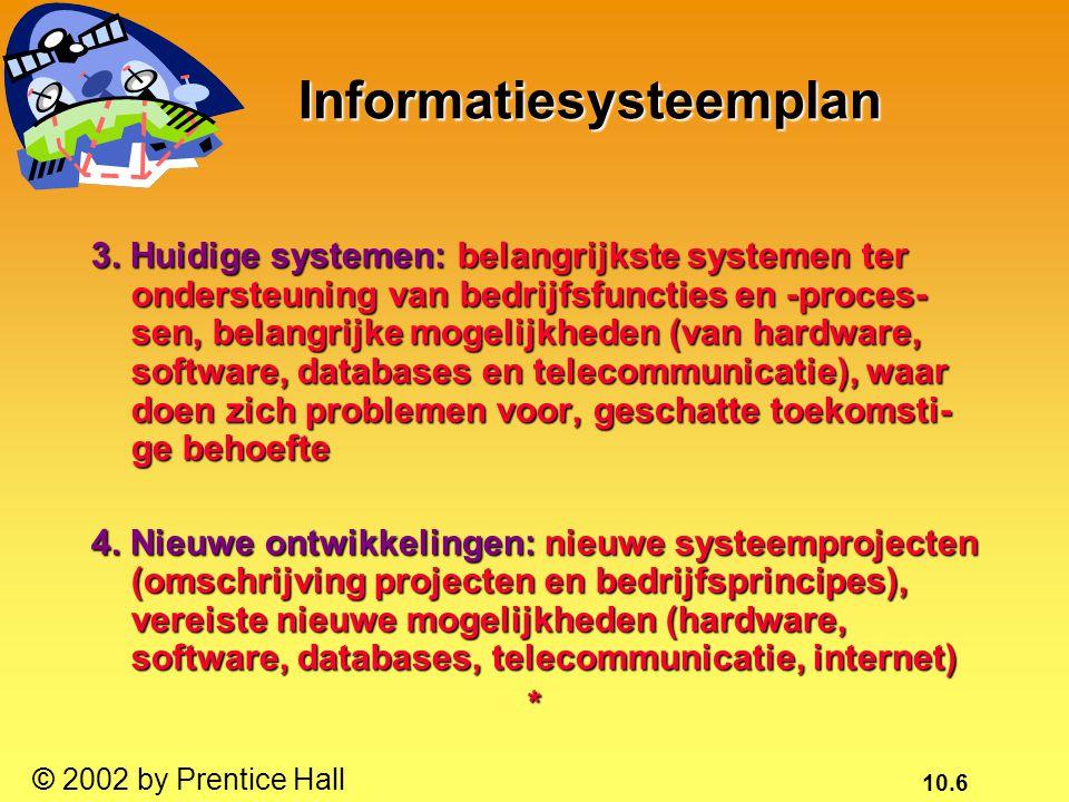 10.17 © 2002 by Prentice Hall Analyse van het probleem dat met een informatiesysteem moet worden opgelost Analyse van het probleem dat met een informatiesysteem moet worden opgelost Sensitiviteitsanalyse: kan het probleem binnen de beper- kingen worden opgelost.