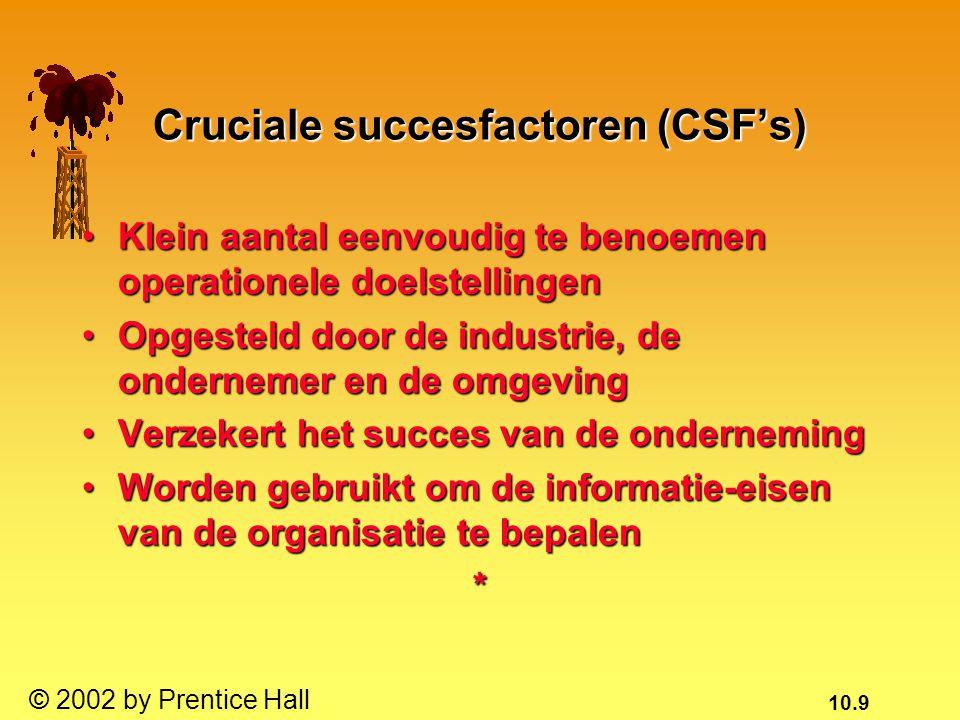 10.9 © 2002 by Prentice Hall Cruciale succesfactoren (CSF's) Klein aantal eenvoudig te benoemen operationele doelstellingenKlein aantal eenvoudig te b