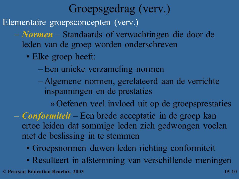 Groepsgedrag (verv.) Elementaire groepsconcepten (verv.) –Normen – Standaards of verwachtingen die door de leden van de groep worden onderschreven Elk