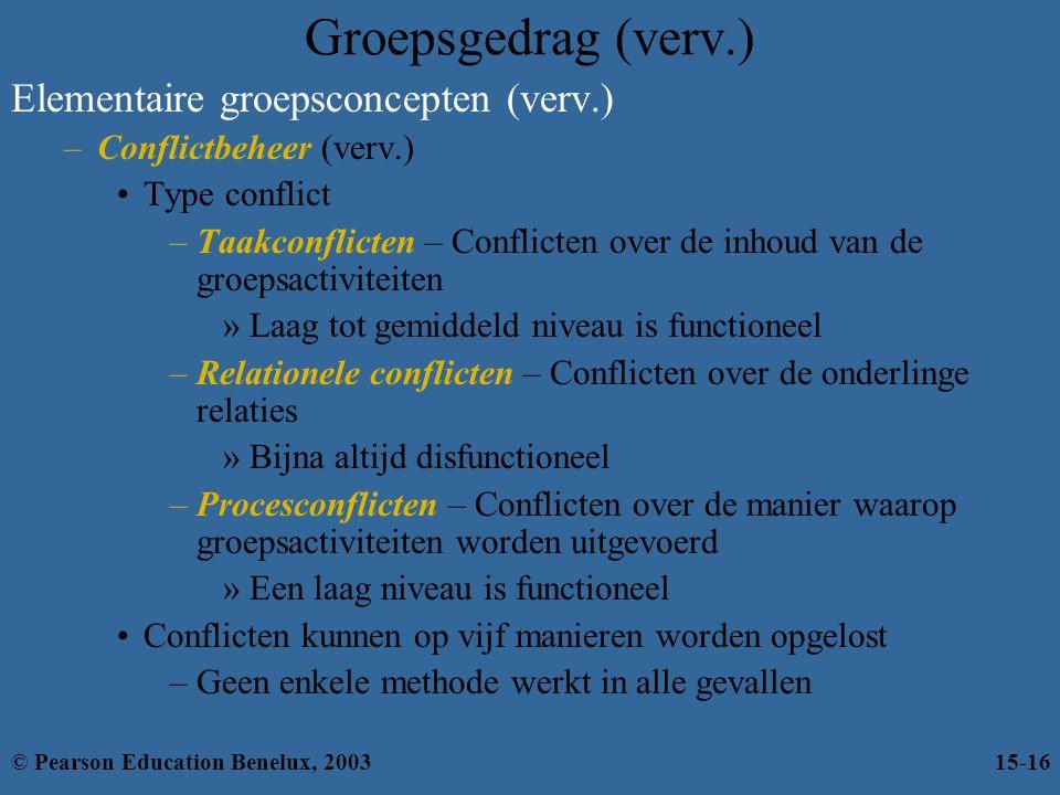 Groepsgedrag (verv.) Elementaire groepsconcepten (verv.) –Conflictbeheer (verv.) Type conflict –Taakconflicten – Conflicten over de inhoud van de groe