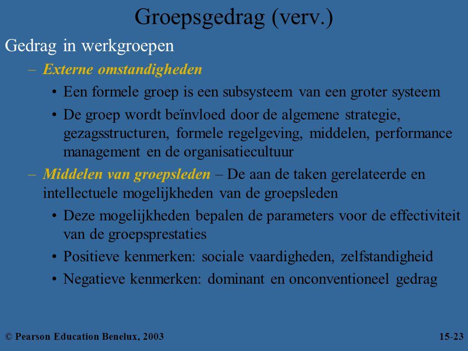 Groepsgedrag (verv.) Gedrag in werkgroepen –Externe omstandigheden Een formele groep is een subsysteem van een groter systeem De groep wordt beïnvloed