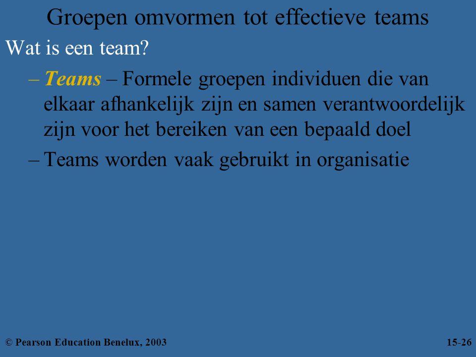 Groepen omvormen tot effectieve teams Wat is een team? –Teams – Formele groepen individuen die van elkaar afhankelijk zijn en samen verantwoordelijk z