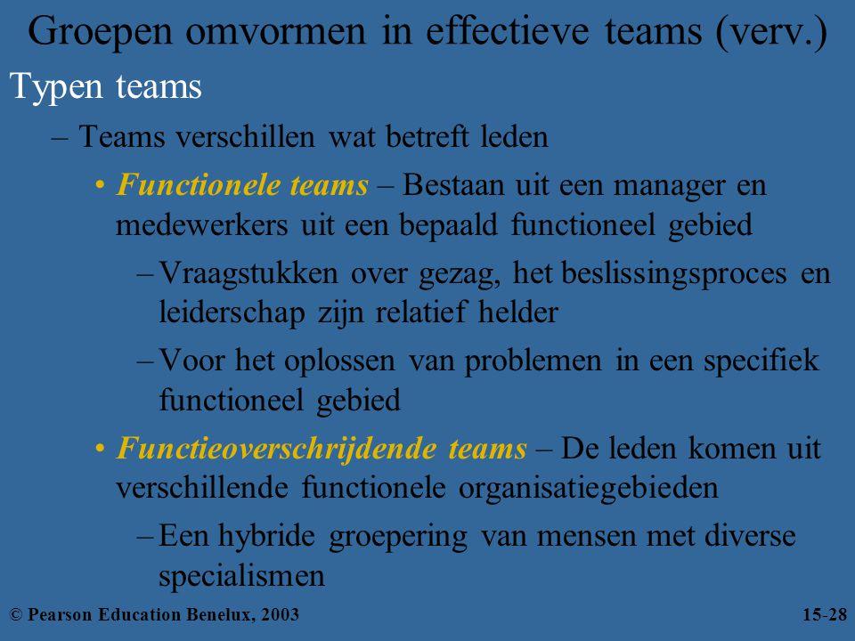 Groepen omvormen in effectieve teams (verv.) Typen teams –Teams verschillen wat betreft leden Functionele teams – Bestaan uit een manager en medewerke