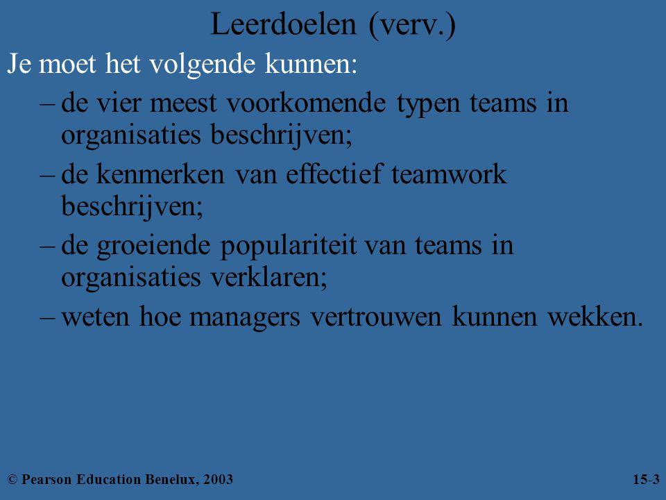 Leerdoelen (verv.) Je moet het volgende kunnen: –de vier meest voorkomende typen teams in organisaties beschrijven; –de kenmerken van effectief teamwo