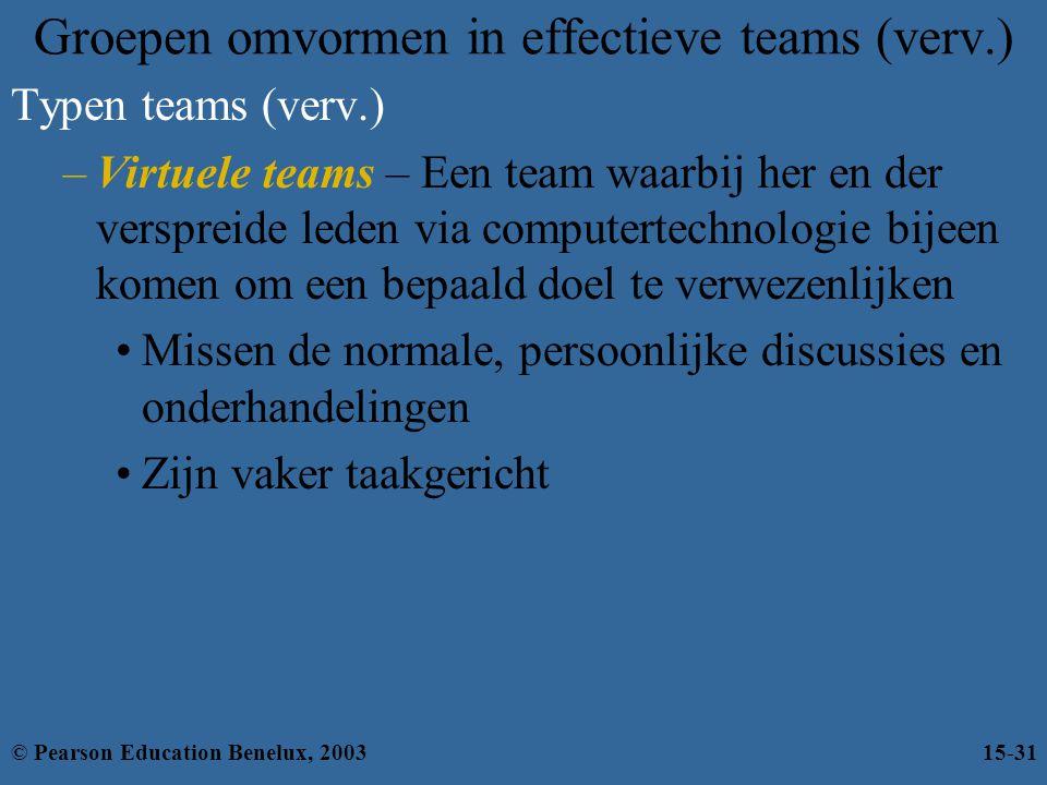 Groepen omvormen in effectieve teams (verv.) Typen teams (verv.) –Virtuele teams – Een team waarbij her en der verspreide leden via computertechnologi