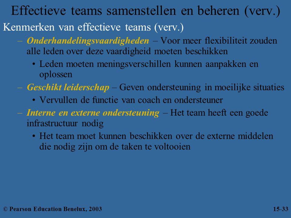 Effectieve teams samenstellen en beheren (verv.) Kenmerken van effectieve teams (verv.) –Onderhandelingsvaardigheden – Voor meer flexibiliteit zouden