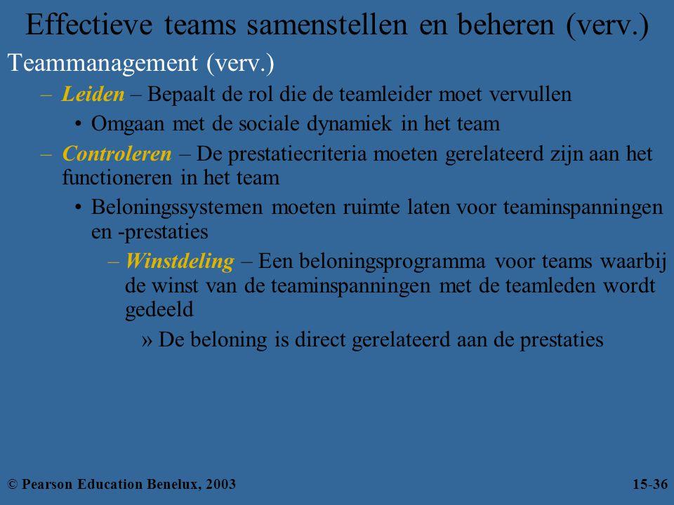Effectieve teams samenstellen en beheren (verv.) Teammanagement (verv.) –Leiden – Bepaalt de rol die de teamleider moet vervullen Omgaan met de social