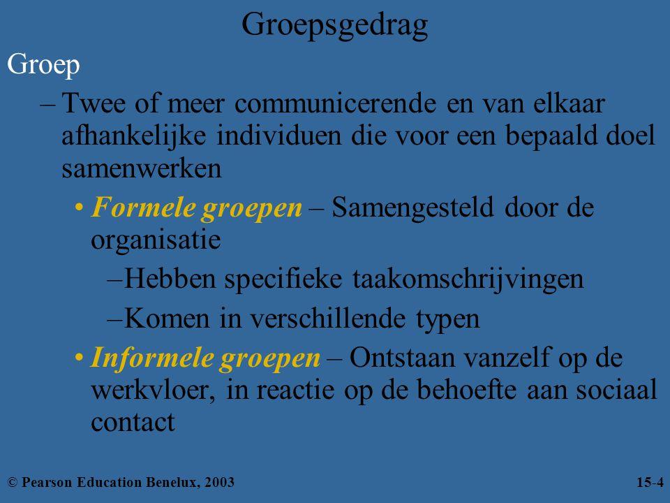 Een model van groepsgedrag Externe omstandig- heden van groep Middelen van groeps- leden Groeps- structuur Groeps- processen Prestaties en voldoening Groeps- taken © Pearson Education Benelux, 200315-25