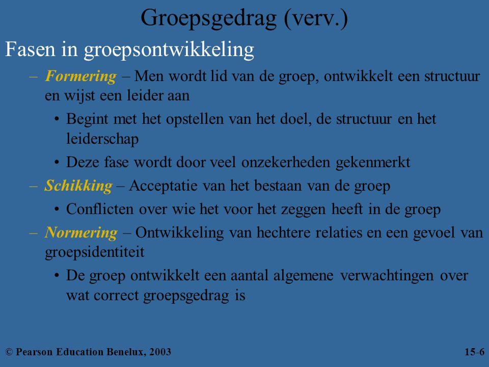 Groepsgedrag (verv.) Fasen in groepsontwikkeling –Formering – Men wordt lid van de groep, ontwikkelt een structuur en wijst een leider aan Begint met