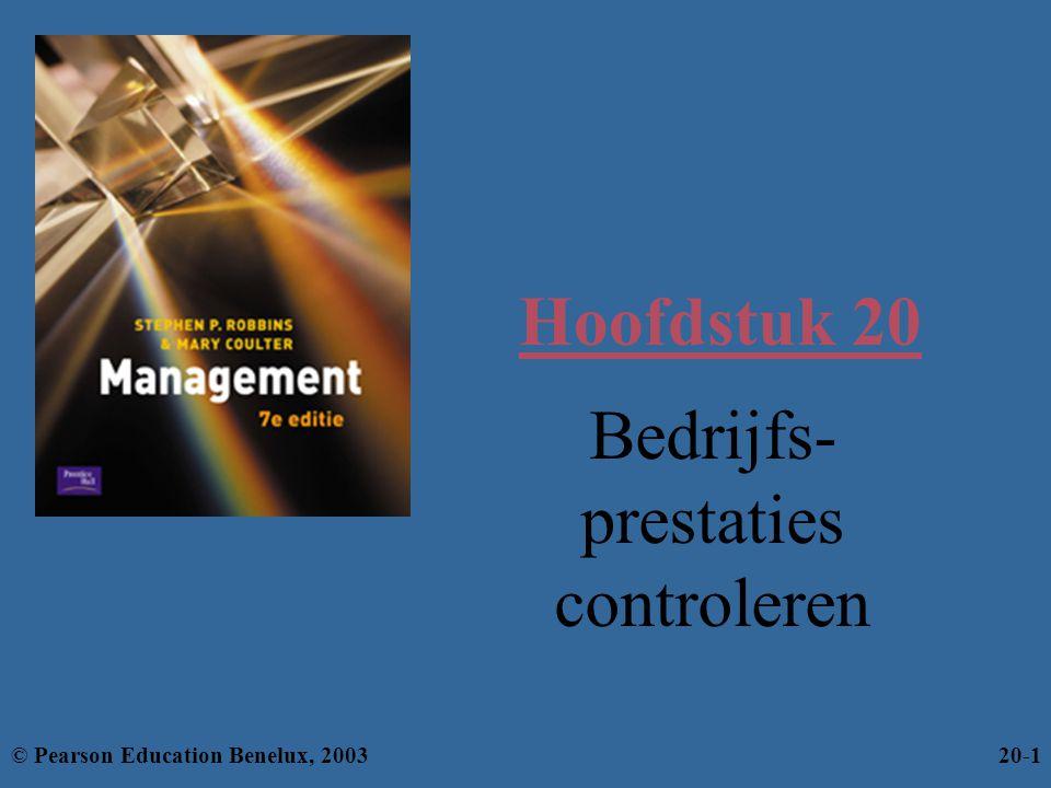 Hoofdstuk 20 Bedrijfs- prestaties controleren © Pearson Education Benelux, 200320-1