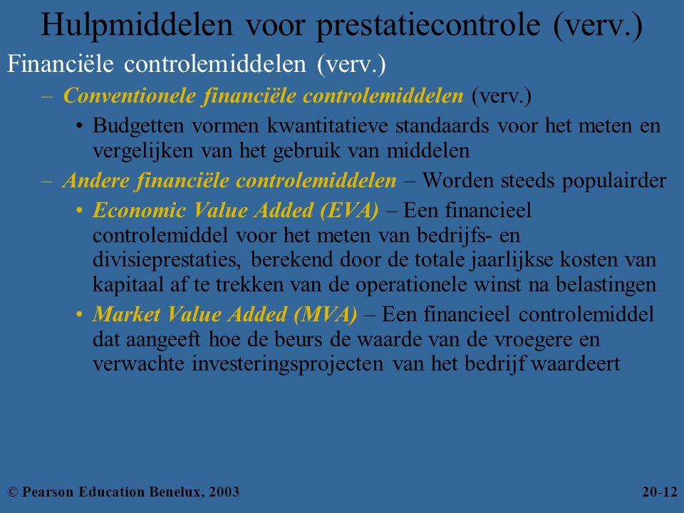 Hulpmiddelen voor prestatiecontrole (verv.) Financiële controlemiddelen (verv.) –Conventionele financiële controlemiddelen (verv.) Budgetten vormen kw