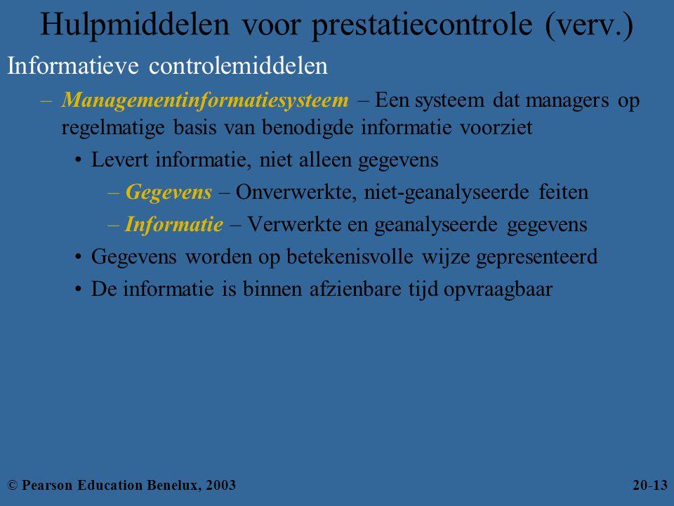Informatieve controlemiddelen –Managementinformatiesysteem – Een systeem dat managers op regelmatige basis van benodigde informatie voorziet Levert in