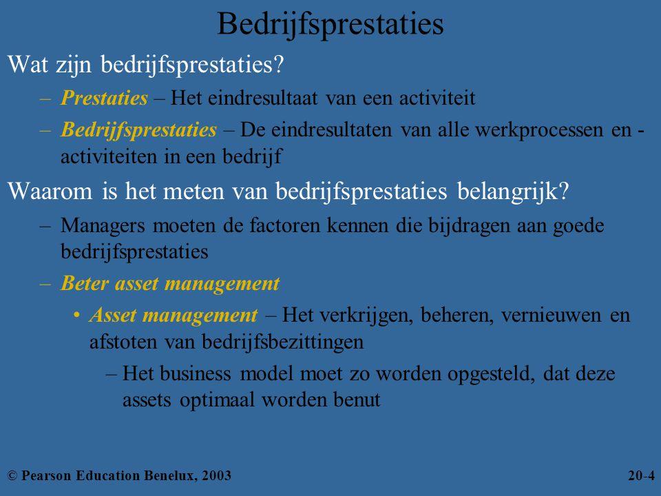 Bedrijfsprestaties Wat zijn bedrijfsprestaties? –Prestaties – Het eindresultaat van een activiteit –Bedrijfsprestaties – De eindresultaten van alle we