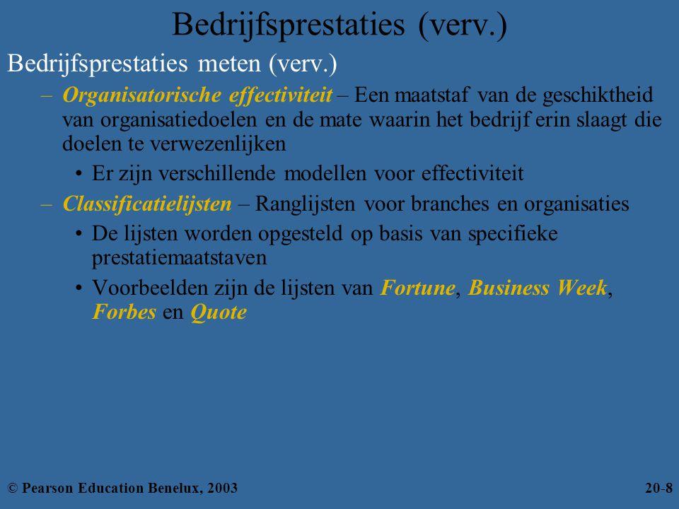 Hulpmiddelen voor prestatiecontrole Informatieve controlemiddelen Financiële controlemiddelen Balanced scorecard Benchmarking van best practices Middelen voor prestatie- controle © Pearson Education Benelux, 200320-9