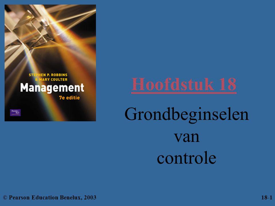 Leerdoelen Je moet het volgende kunnen: –controle definiëren; –de drie belangrijkste controlemethoden beschrijven; –uitleggen waarom controle belangrijk is; –de controleprocessen beschrijven; –onderscheid maken tussen drie typen controle; –de voordelen van een effectief controlesysteem beschrijven; © Pearson Education Benelux, 200318-2
