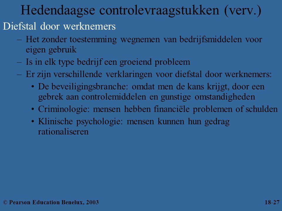 Hedendaagse controlevraagstukken (verv.) Diefstal door werknemers –Het zonder toestemming wegnemen van bedrijfsmiddelen voor eigen gebruik –Is in elk