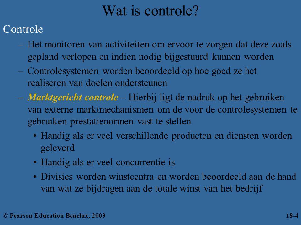 Wat is controle? Controle –Het monitoren van activiteiten om ervoor te zorgen dat deze zoals gepland verlopen en indien nodig bijgestuurd kunnen worde