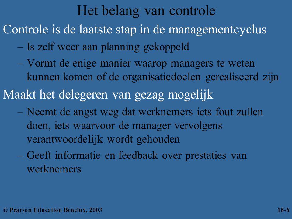Het belang van controle Controle is de laatste stap in de managementcyclus –Is zelf weer aan planning gekoppeld –Vormt de enige manier waarop managers