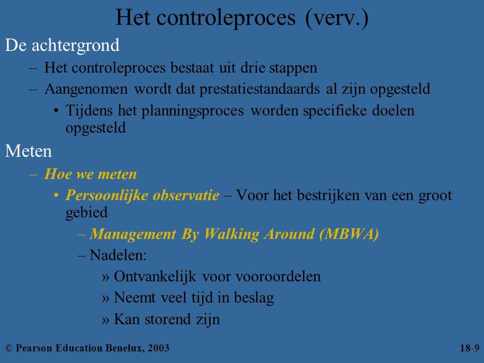 Het controleproces (verv.) De achtergrond –Het controleproces bestaat uit drie stappen –Aangenomen wordt dat prestatiestandaards al zijn opgesteld Tij