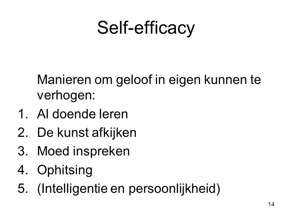 14 Self-efficacy Manieren om geloof in eigen kunnen te verhogen: 1.Al doende leren 2.De kunst afkijken 3.Moed inspreken 4.Ophitsing 5.(Intelligentie e