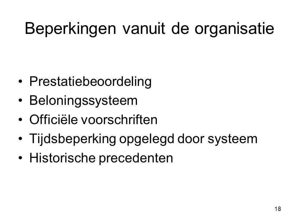 18 Beperkingen vanuit de organisatie Prestatiebeoordeling Beloningssysteem Officiёle voorschriften Tijdsbeperking opgelegd door systeem Historische pr