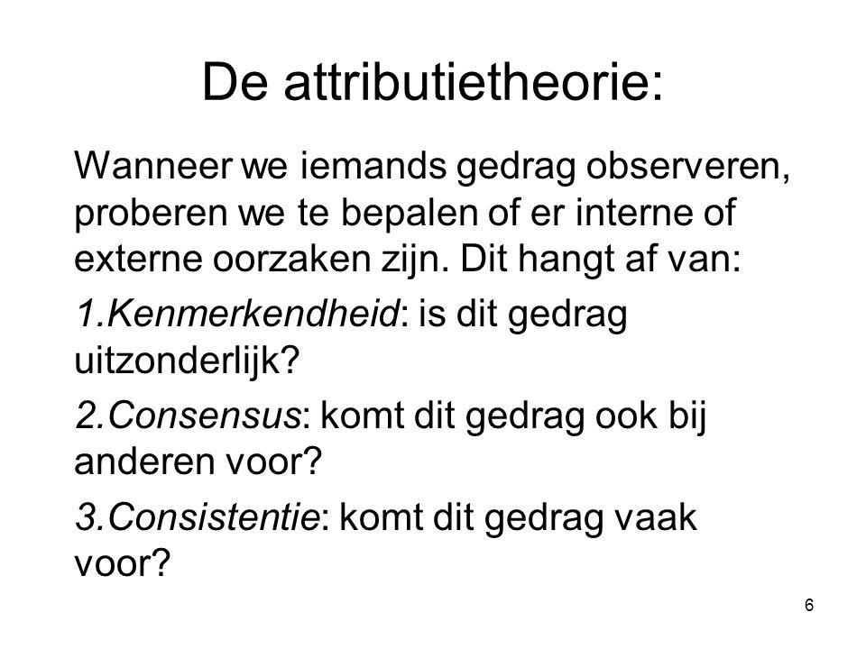 6 De attributietheorie: Wanneer we iemands gedrag observeren, proberen we te bepalen of er interne of externe oorzaken zijn. Dit hangt af van: 1.Kenme