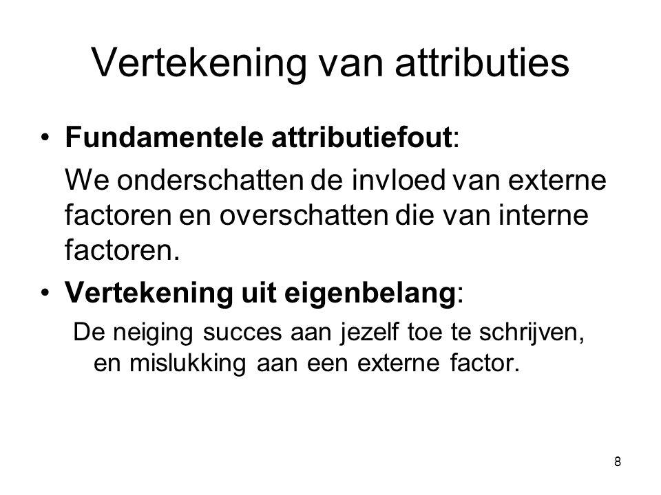 8 Vertekening van attributies Fundamentele attributiefout: We onderschatten de invloed van externe factoren en overschatten die van interne factoren.