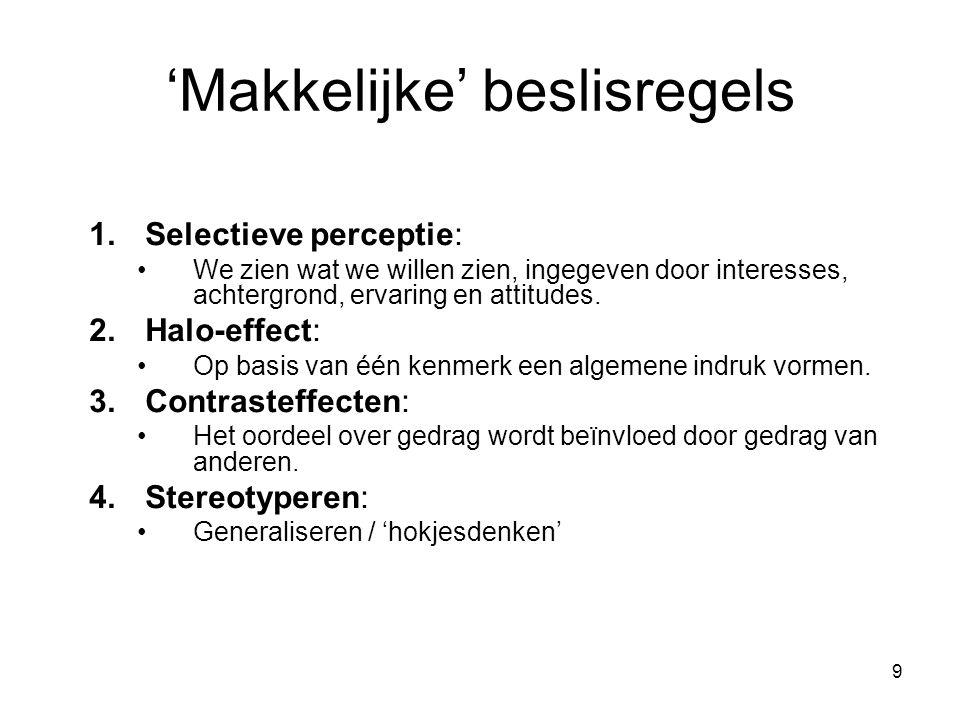 9 'Makkelijke' beslisregels 1.Selectieve perceptie: We zien wat we willen zien, ingegeven door interesses, achtergrond, ervaring en attitudes. 2.Halo-